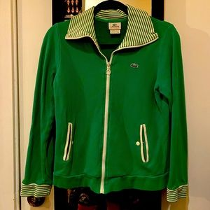 Vintage Green Lacoste zip up sweater - Small